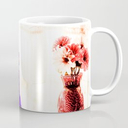 silk flowers in the red vase in kitchen Coffee Mug