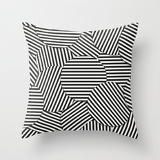 Striped Disc Pattern - Black and White Throw Pillow