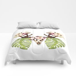 Exotic Tropical Floral Leaves Skull Antlers Comforters