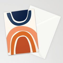 Abstract Shapes 9 in Burnt Orange and Navy Blue Stationery Cards