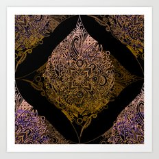 Detailed diamond, bordeaux glow Art Print