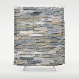 Gray Slate Stone Brick Texture Faux Wall Shower Curtain