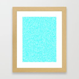 Spacey Melange - White and Aqua Cyan Framed Art Print