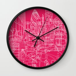 London! Hot Pink Wall Clock