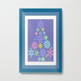 Colorful Pastel Shade Snowflake Christmas Tree Metal Print