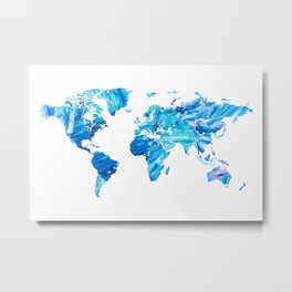 Abstract Blue World Map Painting Metal Print