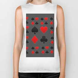 RED & BLACK PLAYING CARD  ART ON CHARCOAL GREY Biker Tank
