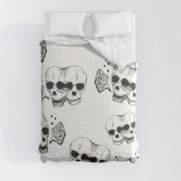 GEMINI - twins - conjoined skull zodiac series doodle Comforters