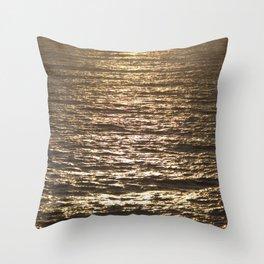 Sun ray on the sea Throw Pillow