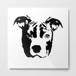 Pit Bull Dog black white Metal Print