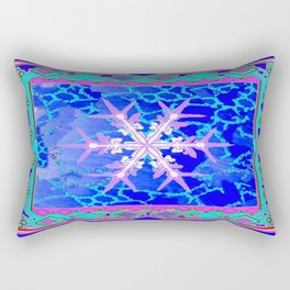 Blue Frozen Snowflake Abstract Art Rectangular Pillow