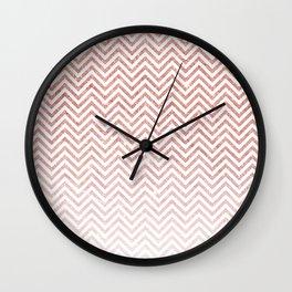Stylish chic faux pink glitter chic chevron Wall Clock