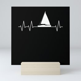 Sailing Ship Heartbeat Sailboat Pulse Captain Mini Art Print