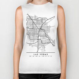 LAS VEGAS NEVADA BLACK CITY STREET MAP ART Biker Tank