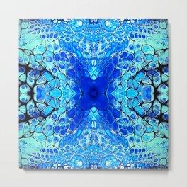 Blue liquid acrylic cells Metal Print