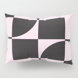 BLACK CIRCLE AND SQUARE ON A PINK BACKGROUND Abstract Art Pillow Sham