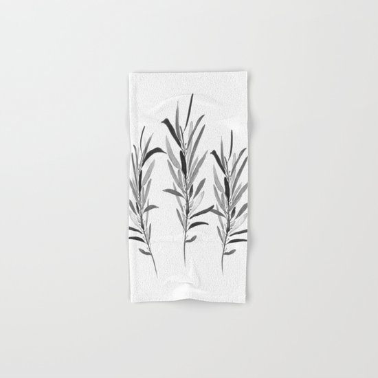 Eucalyptus Branches Black And White Hand & Bath Towel