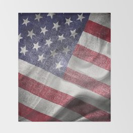 4th of July Fabric of America Throw Blanket