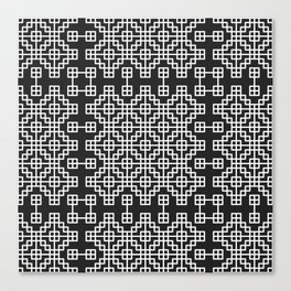 Chinese style grid pattern in black & white Canvas Print