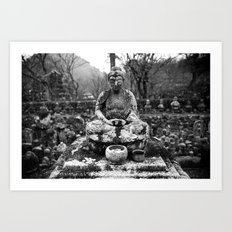 Buddha in the snow Art Print
