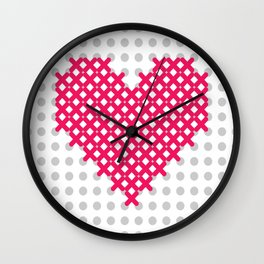 cross embroidered heart Wall Clock