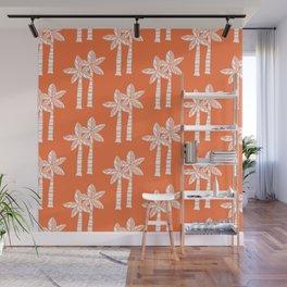 Palm Tree Pattern Orange 3 Wall Mural