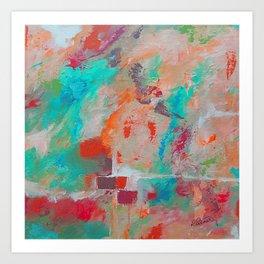 The Stone The Builders Rejected Aqua Orange Pink Art Print