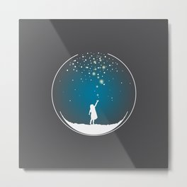 Christmas Girl Snowball - Make a Wish Metal Print