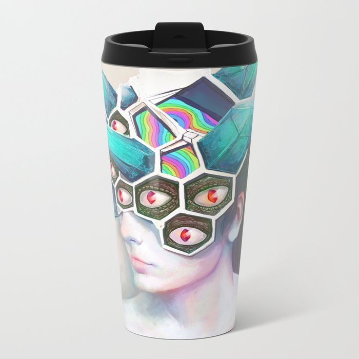 Crystal Head Metal Travel Mug