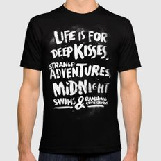 Life is for deep kisses... LARGE Mens Fitted Tee Black