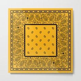 Gold and Black Bandana Metal Print