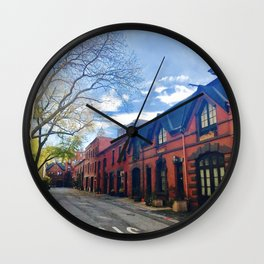 STOP For Brooklyn Heights Brownstone Red Brick Love Wall Clock