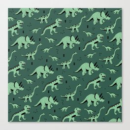 Dinosaur jungle love quirky creatures illustration Canvas Print