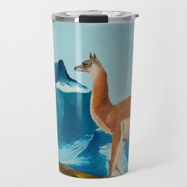 Guanaco South America Oil Painting Travel Mug