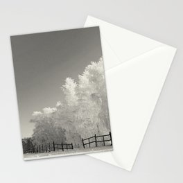 Frosty trees in snowy countryside Stationery Cards