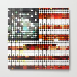 Retro Abstract American Flag Metal Print