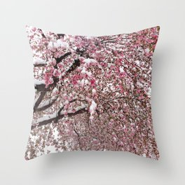 Elegant pink white nature snow cherry blossom floral Throw Pillow