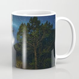 Moonset in coniferous forest Coffee Mug