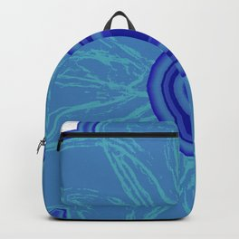 The Hand Drawn Funky Floral Retro Classic -Blue Moon Flower Design Backpack