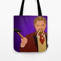 calvin Tote Bags featuring Calvin Candie - Django Unchained by Tom Storrer