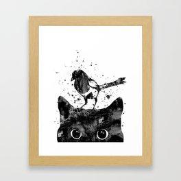 Peeking cat and Magpie Framed Art Print