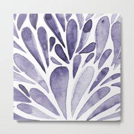 Watercolor artistic drops - indigo Metal Print