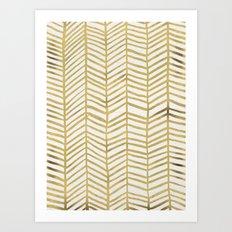 Gold Herringbone Art Print