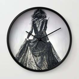 Lace Dress in Black and White Wall Clock