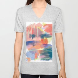 Watercolor Aquarelle Abstract Pattern Unisex V-Neck