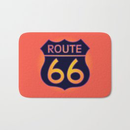 Travel USA sign of Route 66 label. American road icon. Bath Mat