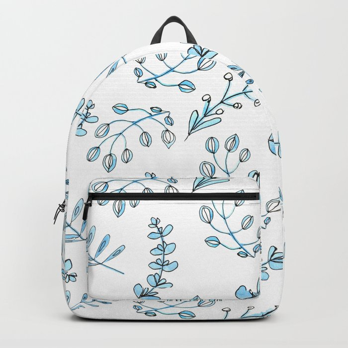Seamless watercolor blue flowers pattern Backpack