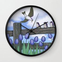 purple martin fledges Wall Clock