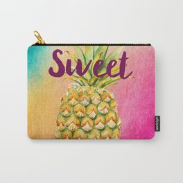 Watercolor Pineapple - Be Sweet Pink Gold Pineapple Carry-All Pouch