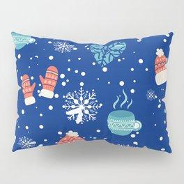 Winter Pattern Mittens Mugs Hearts Snow Flakes Pillow Sham